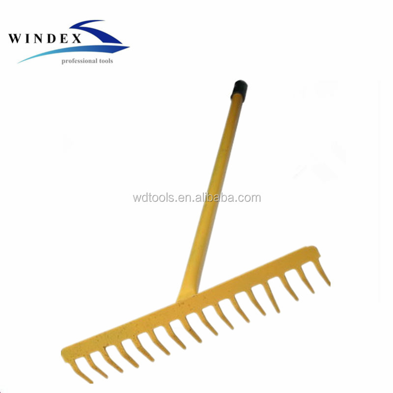 High Quality Plastic Coated Carbon Steel Garden Tools Farming Rake Leaf Rake 8T,10T,12T,14T,16T,18T