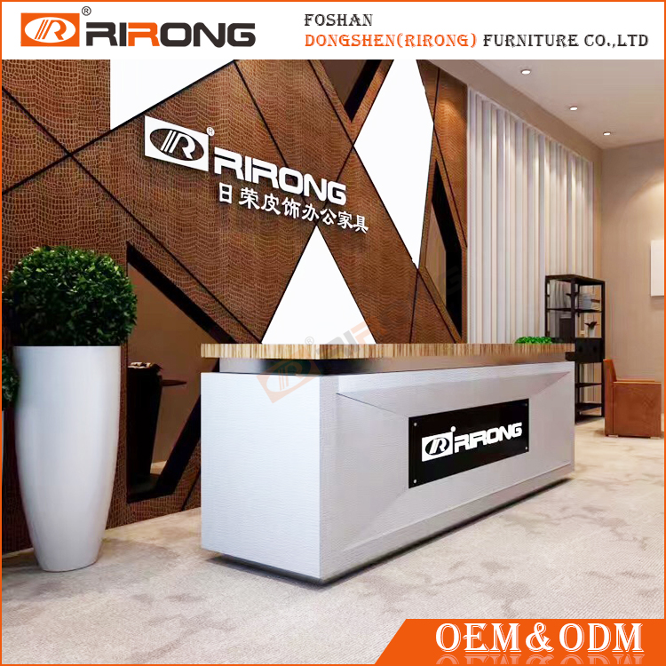 Modern customized white office wood front counter design standing reception desk
