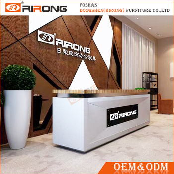 Modern Customized White Office Wood Front Counter Design