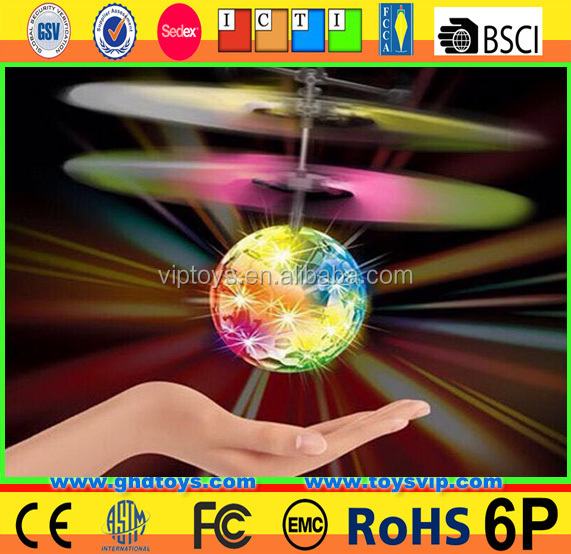Infrared induction hand control flying ball.Infrared Sensor Flying Ball with colorful light.flying itself without remote control
