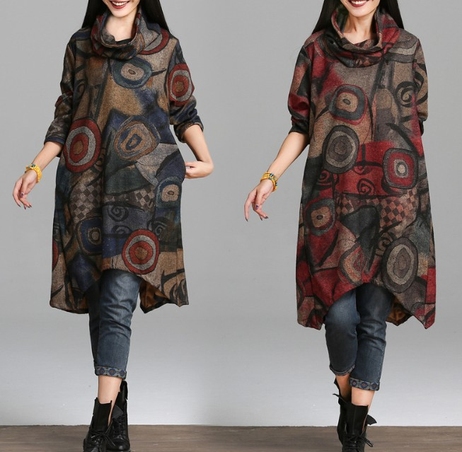 zm21193a new art style women clothes medium length casual women dress