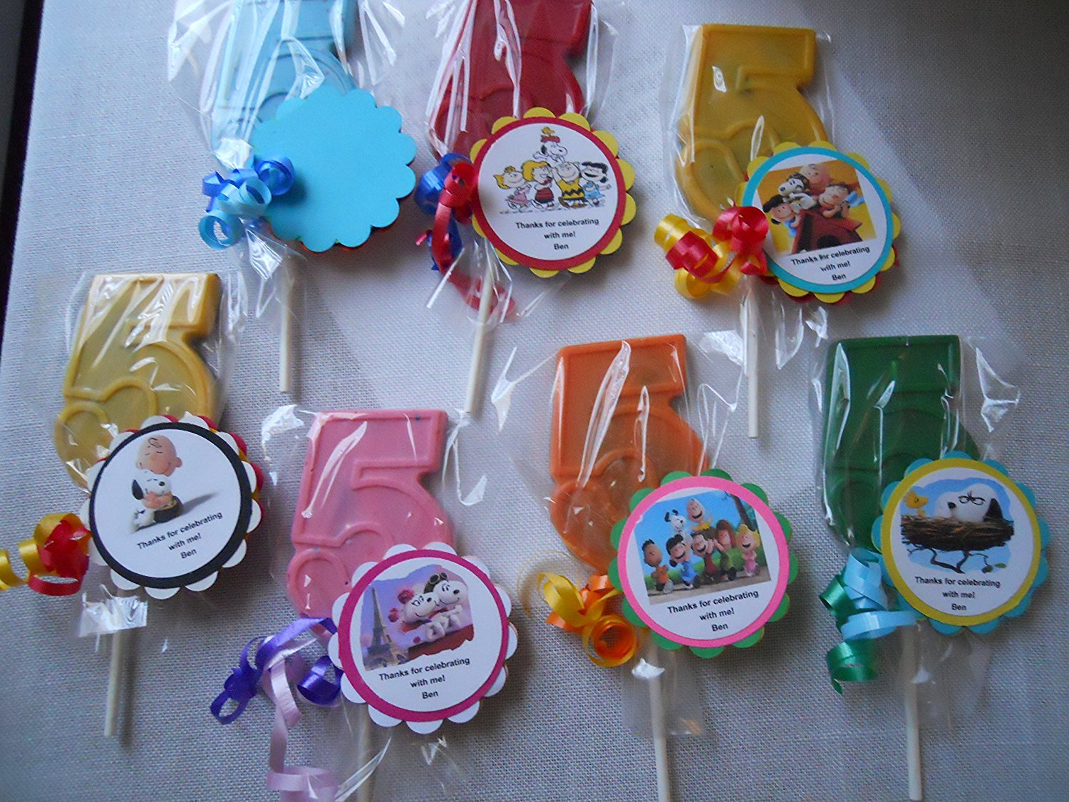 Buy 12 Peanuts Movie Snoopy Themed 5th Birthday Chocolate Lollipops ...