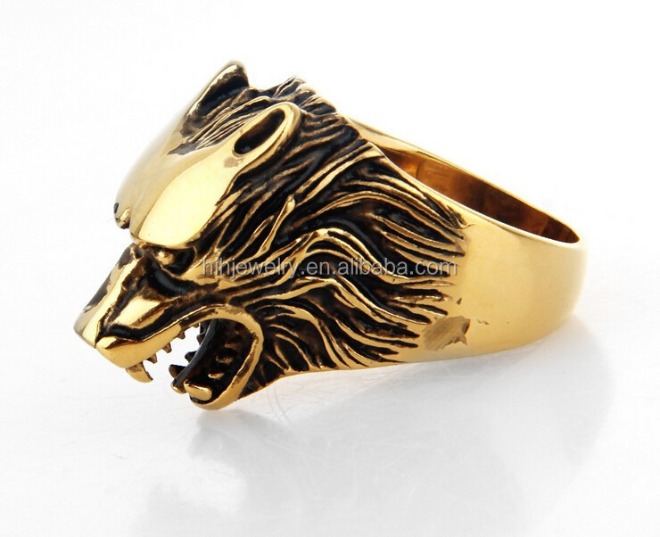 Wolf Thumb Rings For Men Gold Plating Wolf Head Ring Stainless