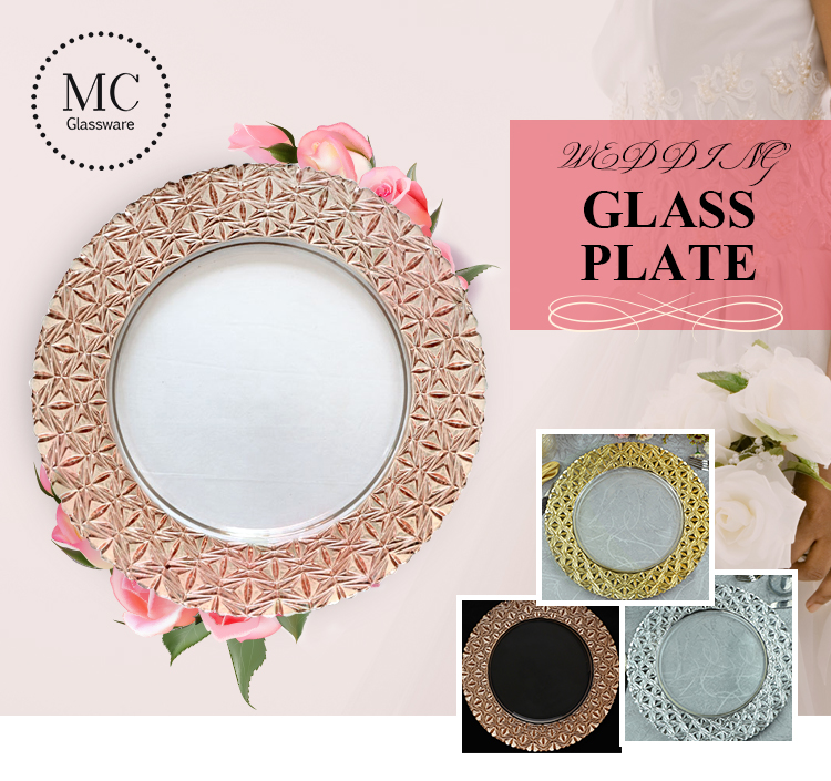 Colorful glass charger plate for wedding decoration