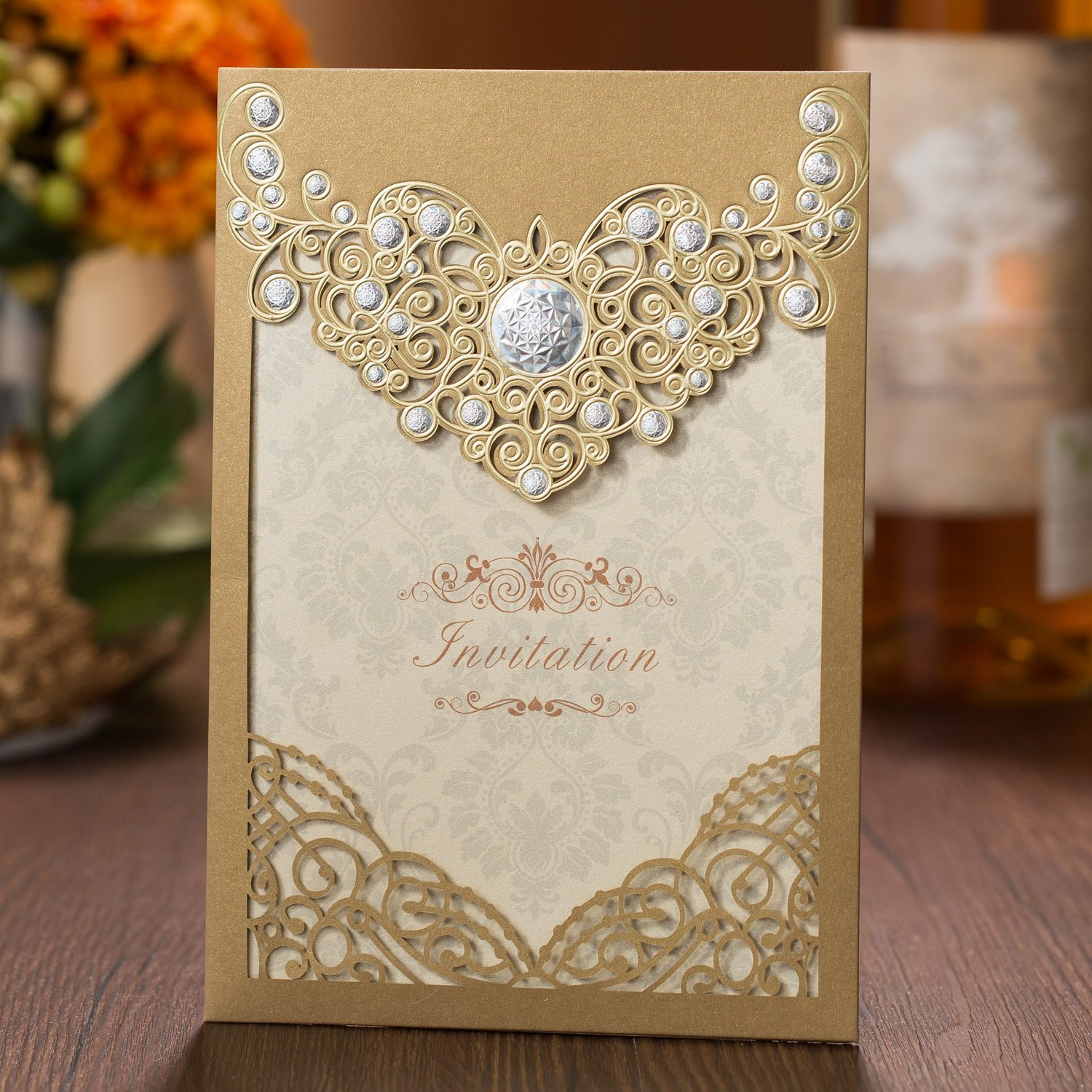 Get Quotations 50PCS Laser Cut Bronzing Wedding Invitation Cards Hollow Favors Cardstock For Engagement Birthday Graduation Baby