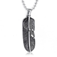 wholesale stainelss steel antique silver American Native Indian Feather pendant Necklace