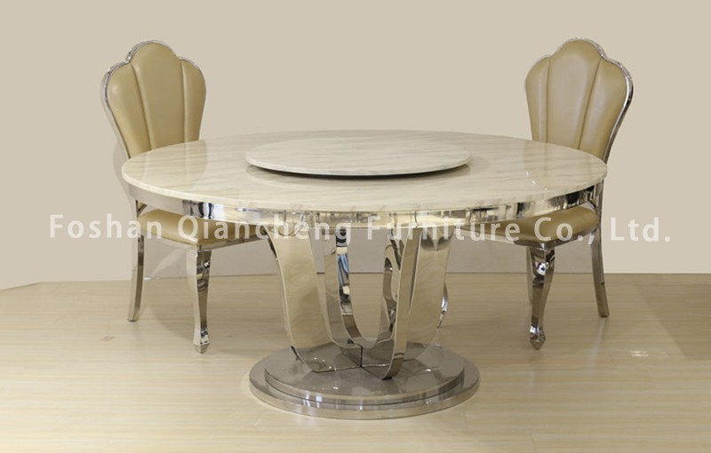 Whole Hot Ing Furniture Stainless Steel Marble Top Luxury Round Dining Table Rotating