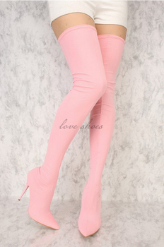 0b6b456450a73 women Pink Stretchy Lycra Pointy Toe sexy Thigh High Heel Bootsover the knee  boots for women
