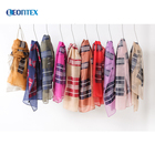 High-grade lady plaid custom embroidered scarf