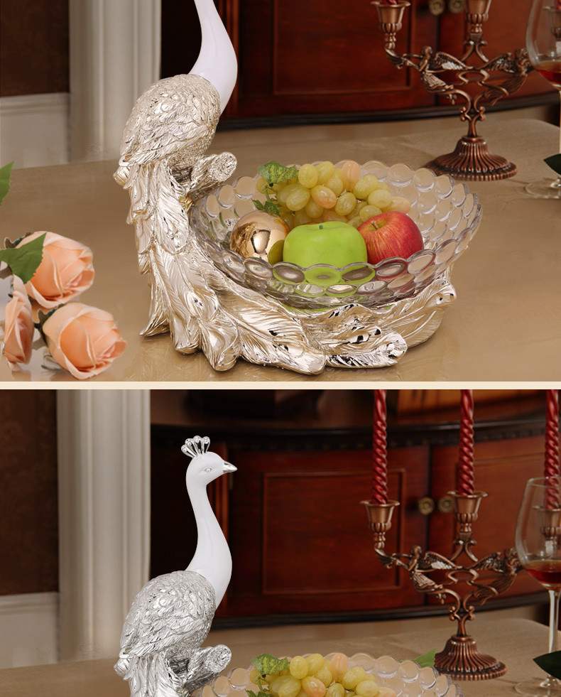 Lead Free Resin Peacock Figure Decor Glass Bowls For Home Kitchen Decor At Factory Price View