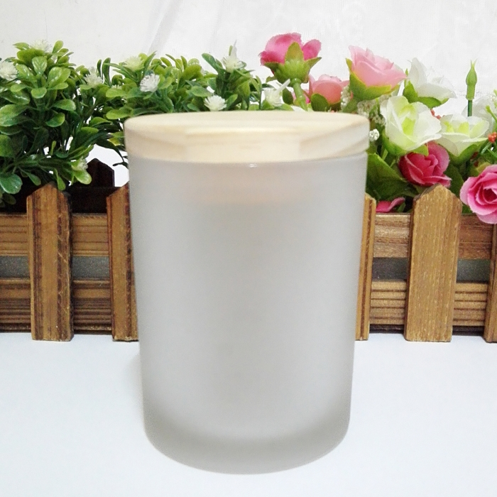 highly scented cheap price customizable scented soy candle in frosted glass jar with wooden lid