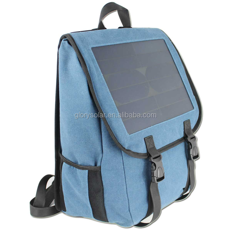 Solar Canvas Backpack, Solar Laptop Backpack, Solar School Backpack With Mobile Phone Charger For School Student