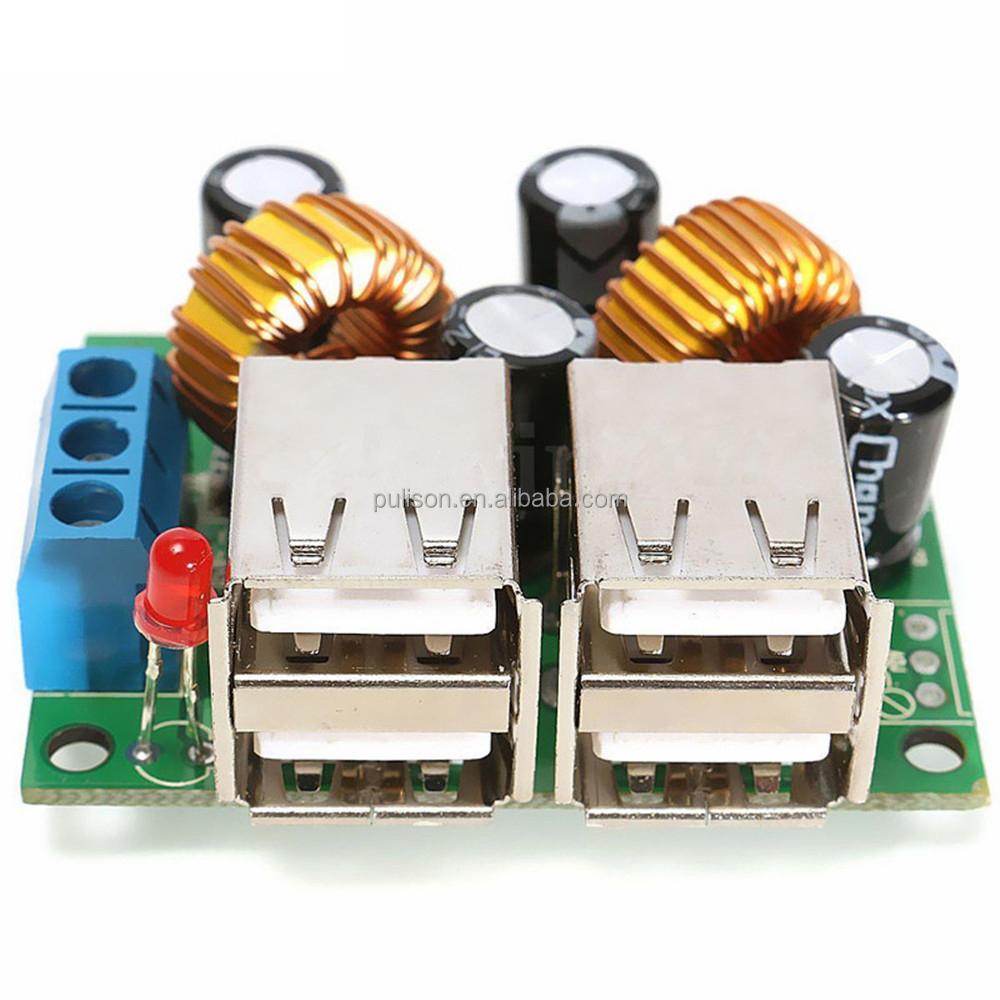 4-USB Port Step-down Power Supply Converter Board Module DC 12V 24V 40V to 5V 5A