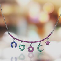 BAMA Jewelry 925 Sterling Silver Necklaces pendent With Colorful Zircon CZ Fashion Jewelry for Woman