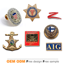 promotional US custom engraved brass stamped enamel military cap badge
