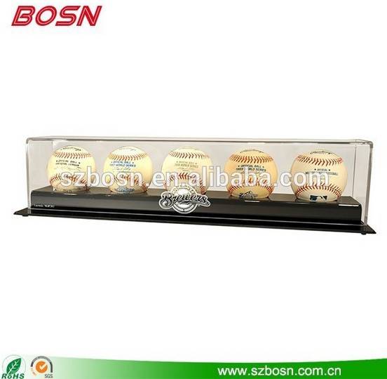 Wholesale Clear Acrylic Baseball Display Case with 5 holes, Lucite Box Showcase