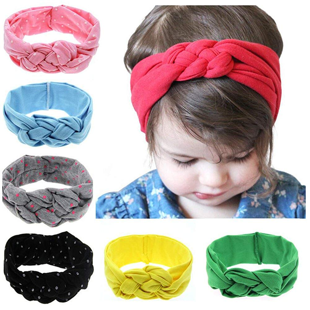 4927e24507612 Get Quotations · Baby Headbands Newborn Girl Hairbands Messy Bow Head Wraps  Knot Turban Toddlers