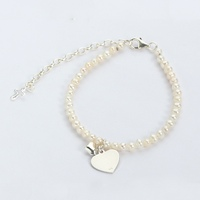 925 sterling silver baby heart tags natural pearl bead bracelet for logo name