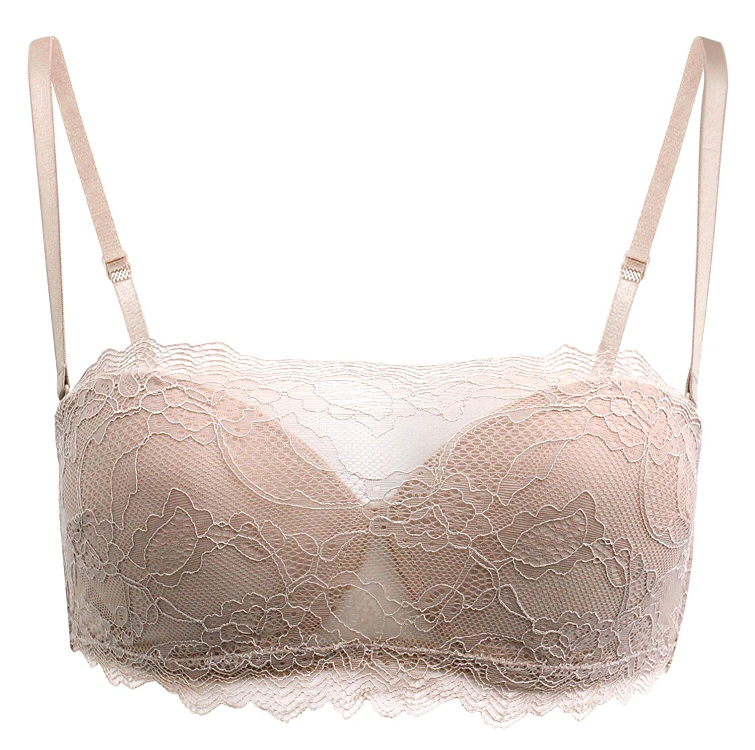 6ca63f69954bb Get Quotations · Real Women s Daphne Strapless Multi-way Lace Cami  Balconette Bra