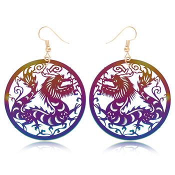 ed28e6d69dad 2018 más nuevo verano joyería chino 12 signos del zodiaco Rainbow Color  dragón Animal latón pendientes