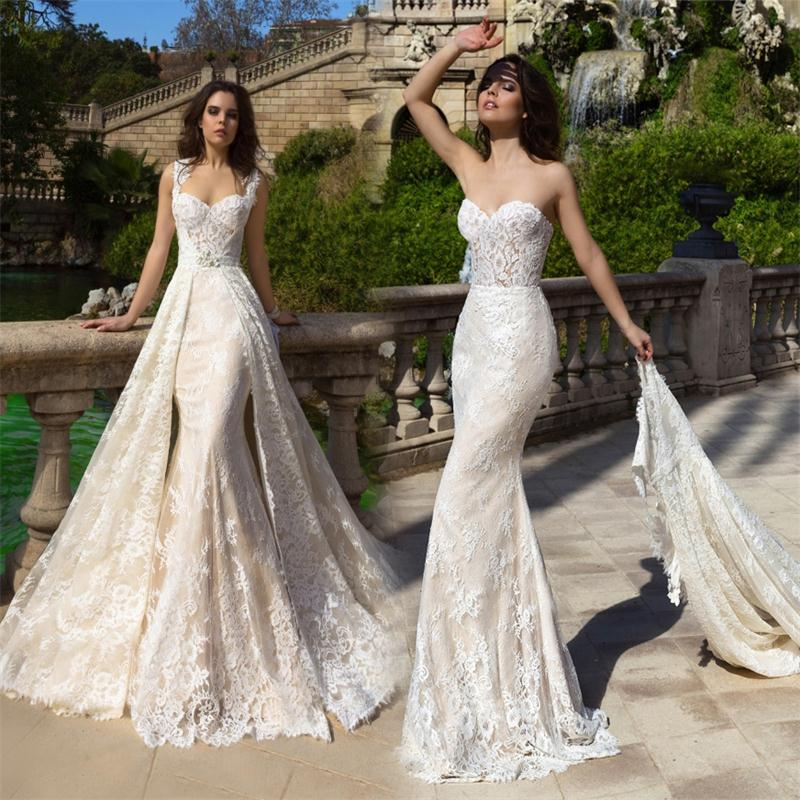 Detachable Trains For Wedding Gowns: Robe De Mariee 2017 New Champagne Mermaid Wedding Dresses