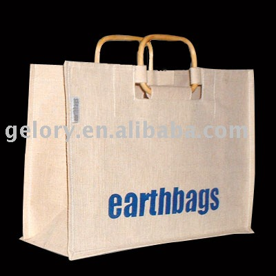 Laminated burlap jute tote bag with rattan handle