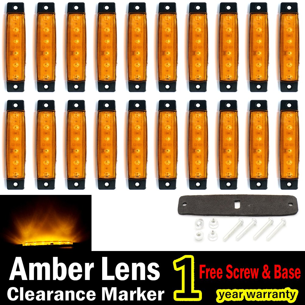 "(Pack of 20) LEDVillage 20 Pcs 3.8"" 6 LED Amber Side Marker Lights, Amber Trailer Marker Lights, Rear Side Marker Lamp Amber, Led Marker Lights for Trucks, Cab Marker, RV Marker light Yellow"