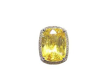 b5cb4c61b192e Agta Gem Lab Cert. Natural Yellow Sapphire Cushion Shape Set With Diamond  Ring - Buy Gemstone Diamond Ring Product on Alibaba.com
