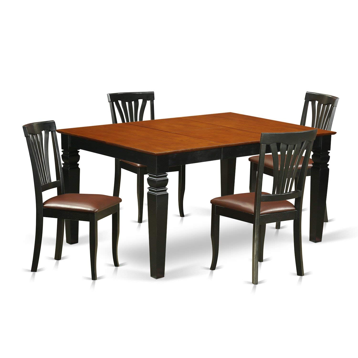 East West Furniture Weston WEAV5-BCH-LC 5 Pc Set with a Kitchen Table and 4 Leather Dining Chairs, Black