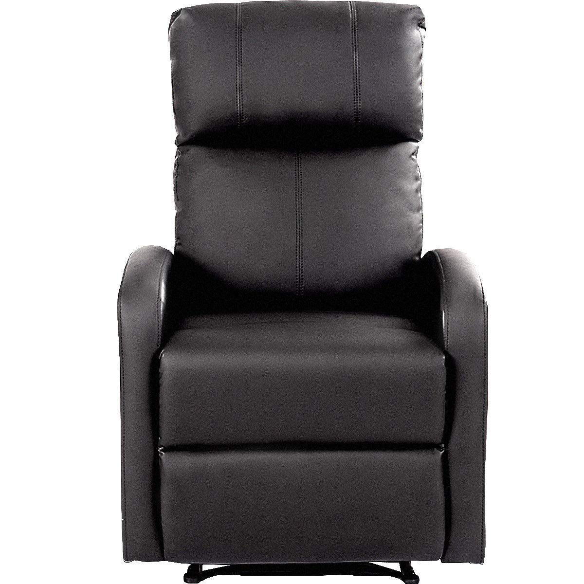 GHP 330-Lbs Capacity Black Leather Push-Back Recliner Chair with Padded Cushion