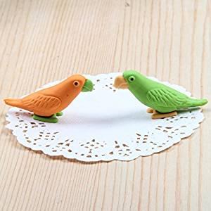 Katoot@ 12 pcs/lot Cartoon animal 3D rubber erasers Cute colored bird pencil eraser stationery kids gift office material school supplies