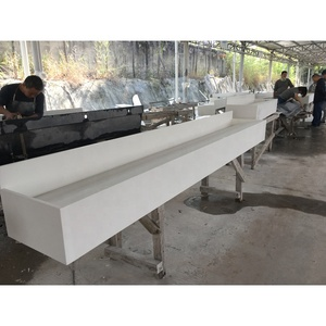 Manual artificial stone long durable bathroom trough sinks with faucets