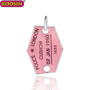 Logo charm wholesale silver jewelry irregularity shape logo pendant enamel pink color charm #13302