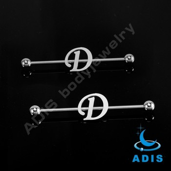 Surgical Steel wholesale custom D letter industrial barbell piercing rings