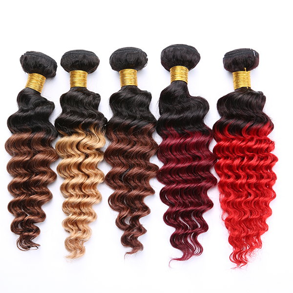 Comfortable Touching Nice Looking three tone ombre brazilian hair weave wet and wavy