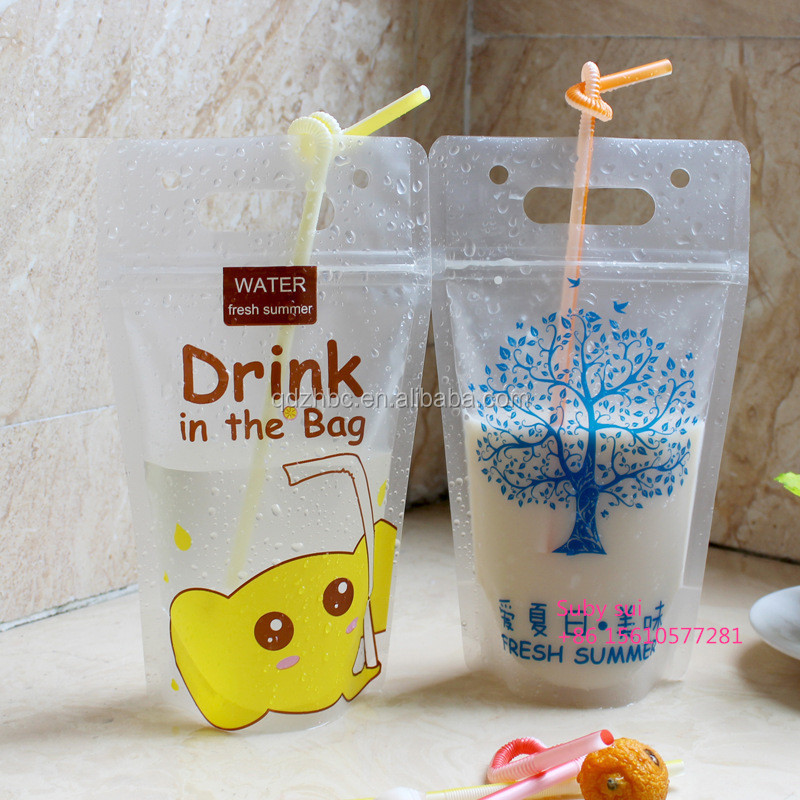 matte clear zip top stand up plastic drink bag beverage pouch