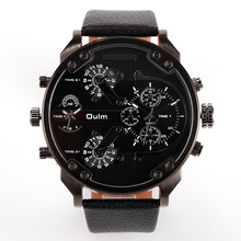 2016 New Arrival Top Brand Luxury Japan movt Quartz 2 Time Zone Casual Watches Big FaceMen OULM 3548 Watch Relapan quartz