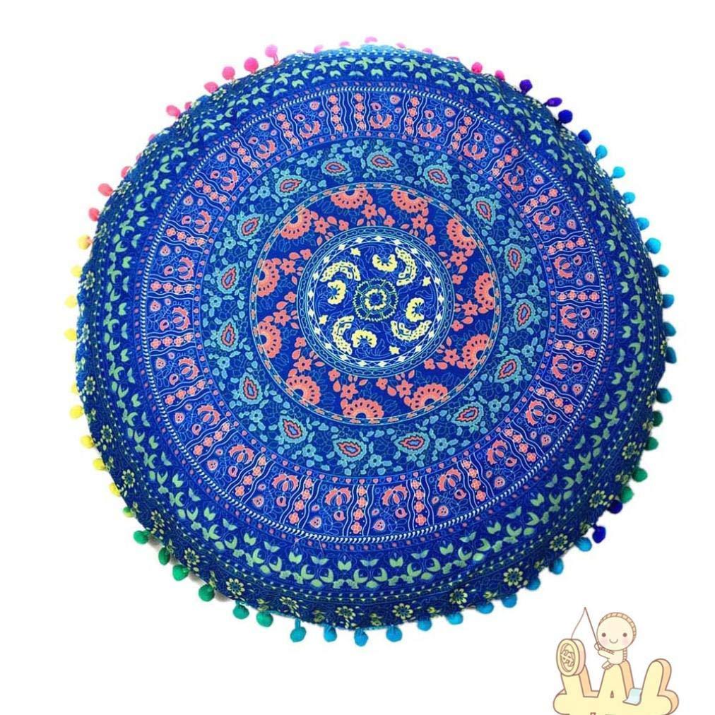 Indian Mandala Floor Pillows Round Bohemian Cushion Cushions Pillows Cover Case (Blue, A)