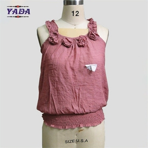 Summer neck designs latest ladies linen-cotton fashion sexy women tank tops tang top
