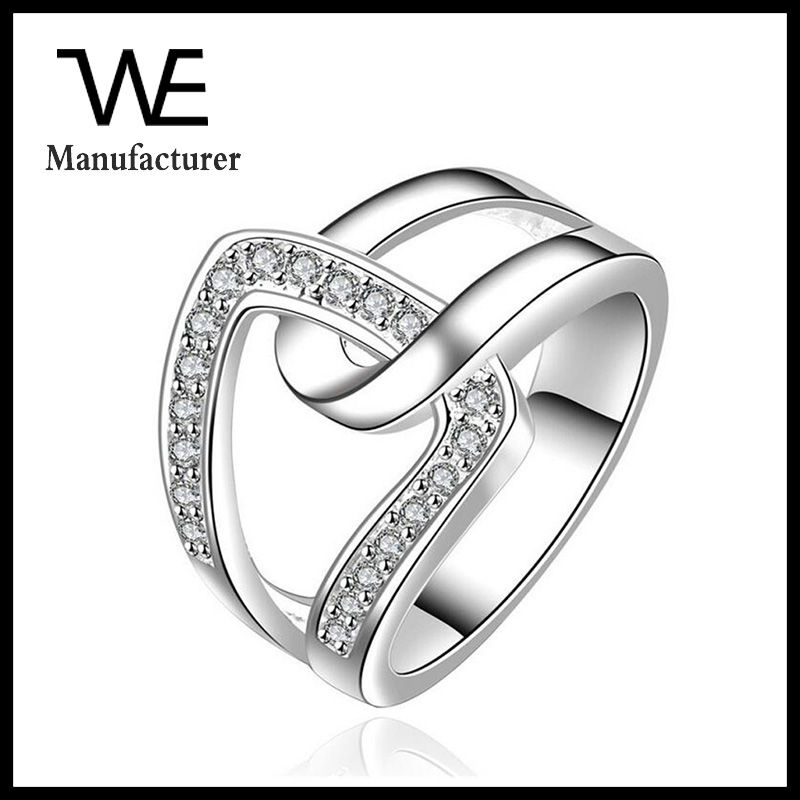 Young Student Cheap Sale High Quality Alloy Crystal Lovers Ring