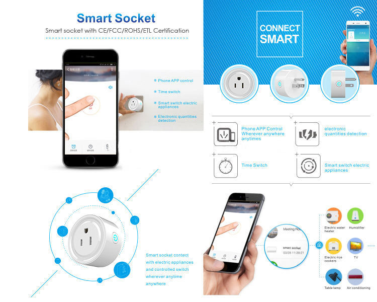 Automation Phone Remote Control Wifi Smart Plug Socket working with Amazon Alexa echo and Google
