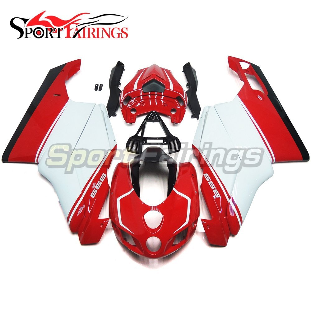 Sportfairings Injection ABS Plastic Complete Fairing Kits For DUCAT 999 749 Monoposto 2005 2006 Motorcycle Red White Cowlings