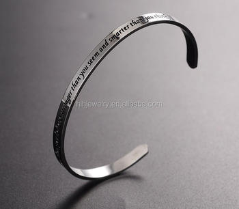 6mm Custom Personalized Cuff Band Bracelet Verse Engraved Scripture Saying Quote Whole