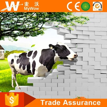 Yl T049 Vivid Dairy Cow Decorative Wall Coverings Custom Wall Mural