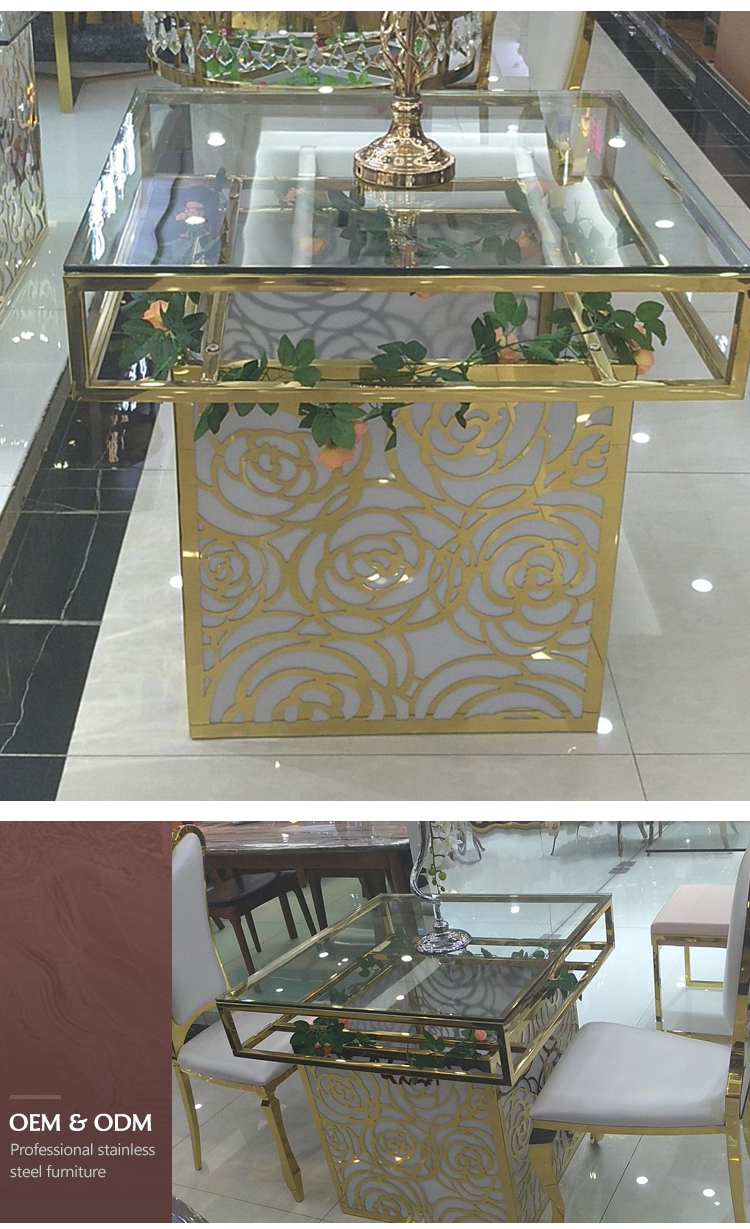 square glass top led lighted dining table for wedding banquet color change stainless steel base frame dining table
