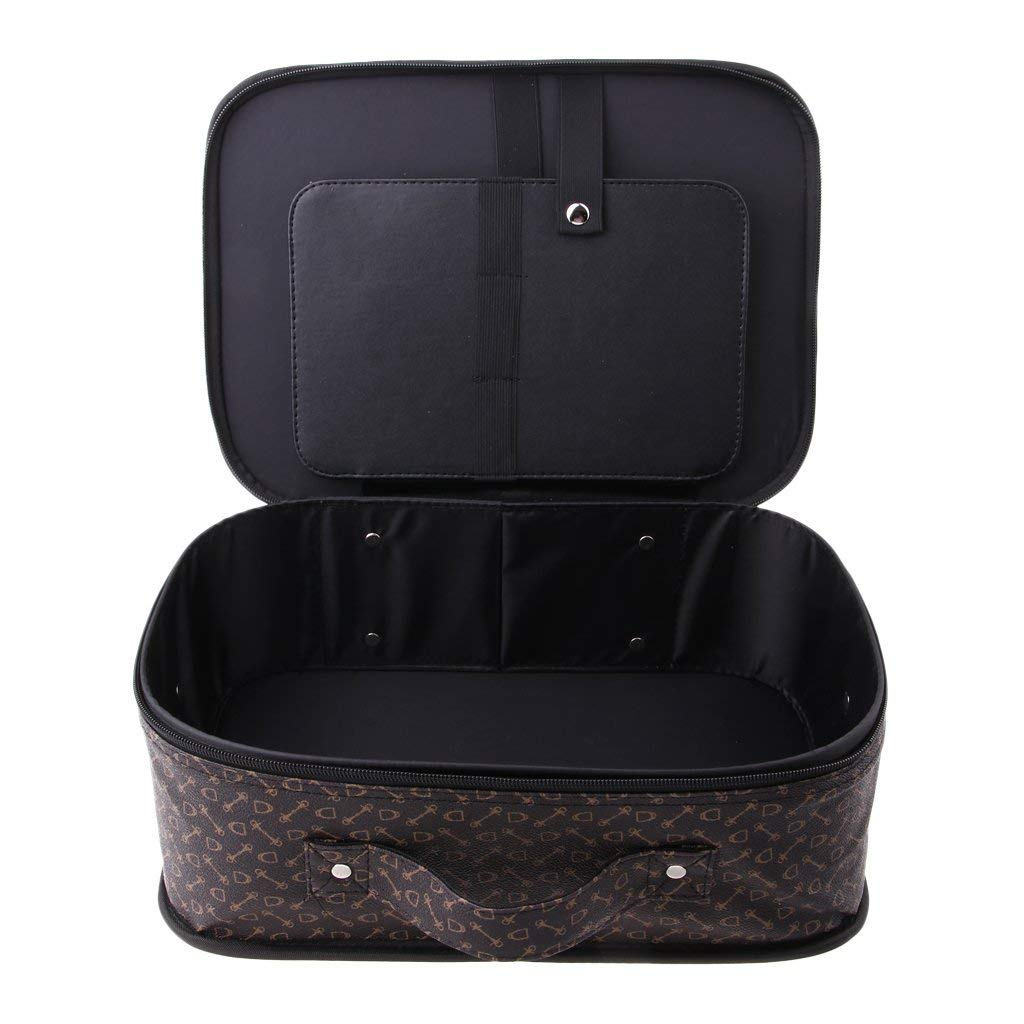 Fityle Large Travel Makeup Train Case Makeup Cosmetic Case Organizer Portable Artist Storage Bag with Handheld Belt for Cosmetics Makeup Brushes Toiletry Jewelry Digital accessories - #A