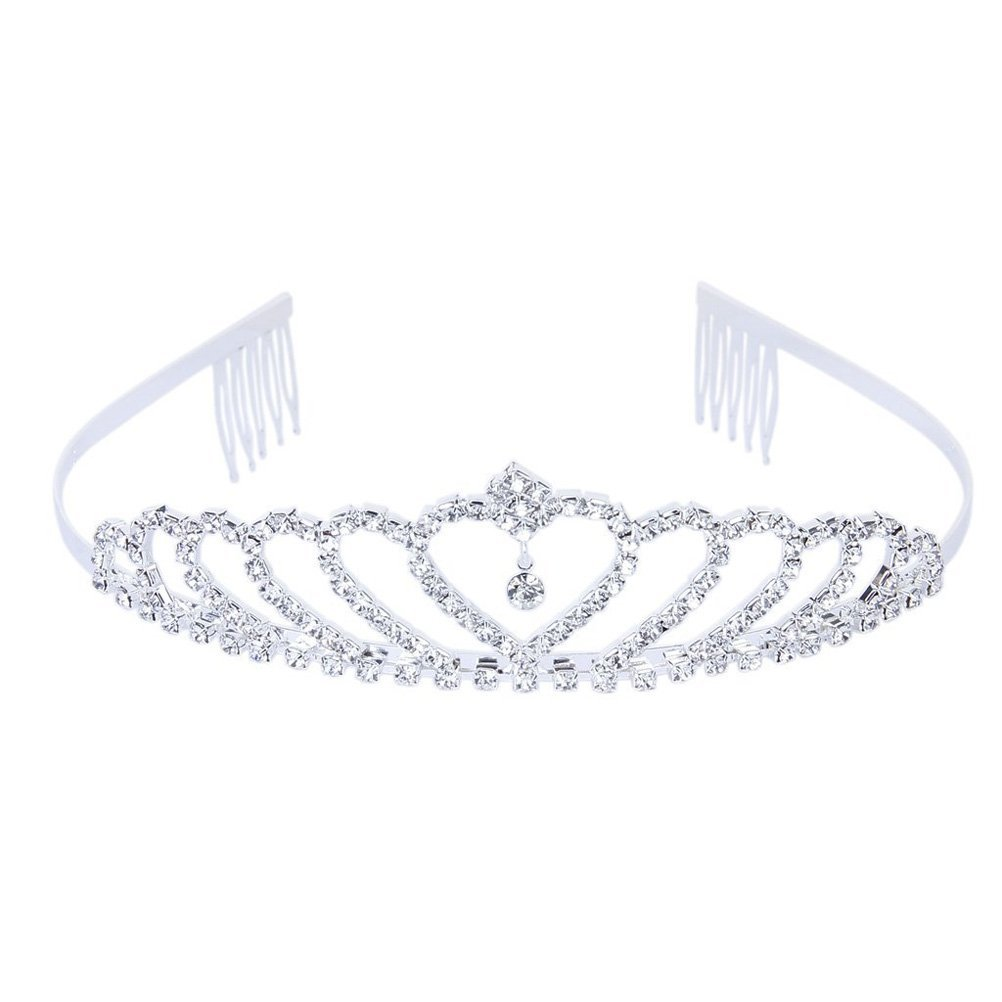 Tinksky Delicate Wedding Bridal Prom Shining Rhinestones Crown Princess Tiara Headband with Comb (Silver)