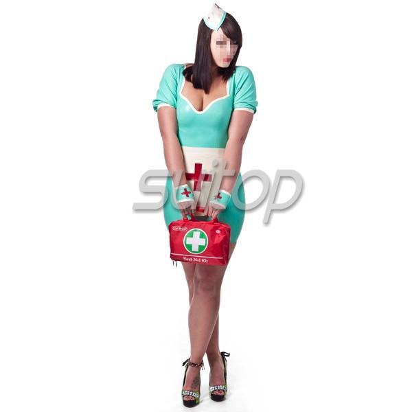 Latex Rubber Uniform Latex Rubber Night Nurse Dress, Cap