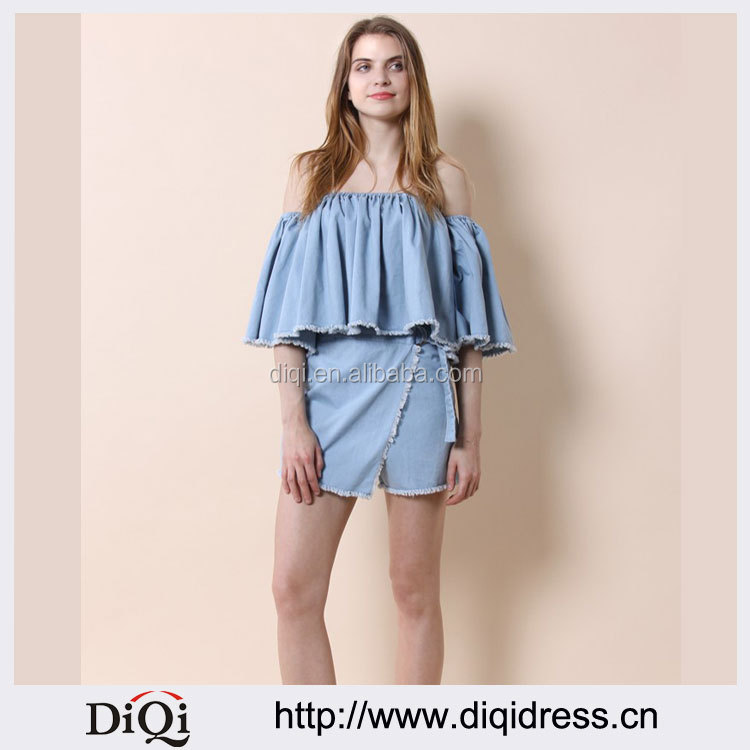 Blue Women Chic Up Washed Denim Flap Skorts(DQE0003P)
