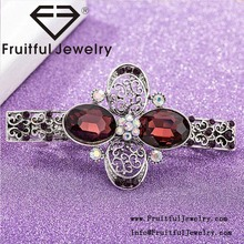 Fashion vintage crystal alloy hairpin Design Handmade four leaf clover hair clips with rhinestone
